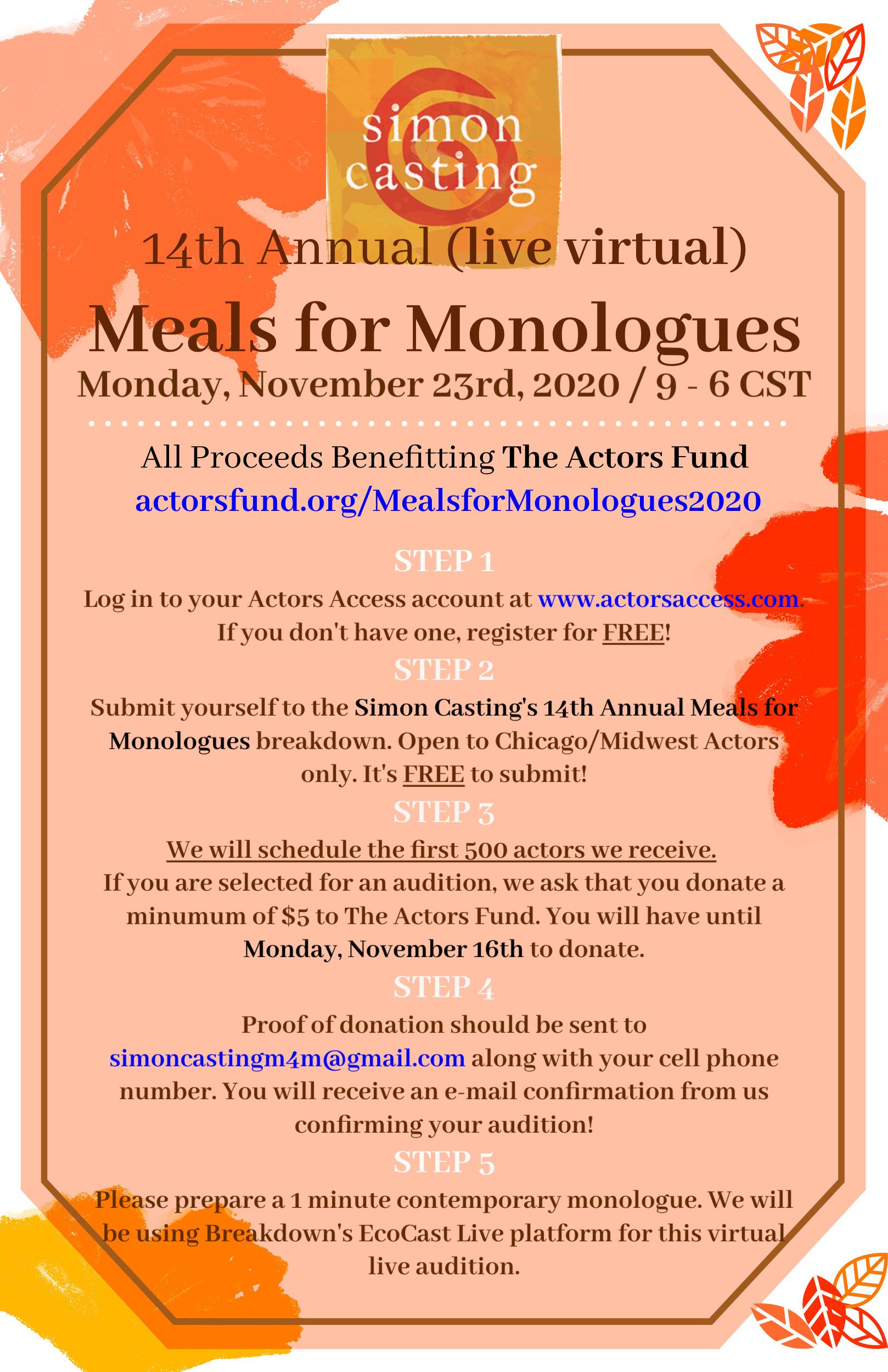 Feature Photo for 14th Annual LIVE Virtual Meals For Monologues